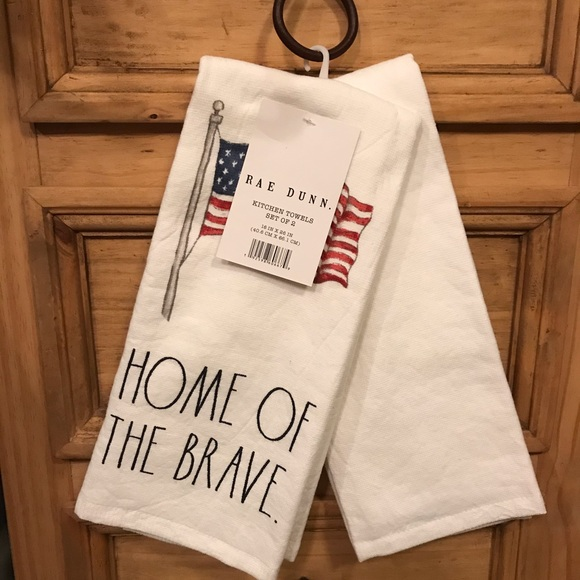 """Rae Dunn """"Home of the Brave"""" kitchen towels"""
